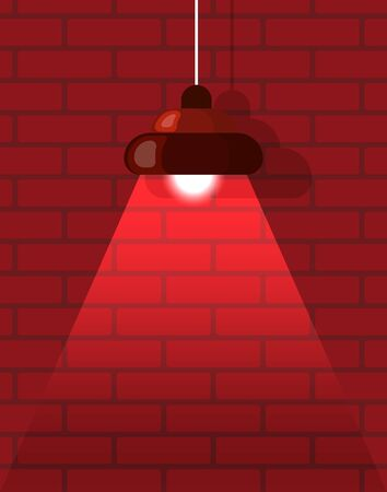 Hanging lamp near bricks wall in red color, illuminated electronic equipment. Lightbulb with tube with shadow, element of interior, chandelier. Vector illustration in flat cartoon style
