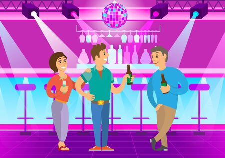 Drinking people talking in club, rest and relaxation in evening. Man and woman leading conversation, bottle of beer in hands, clubbers smiling. Vector illustration in flat cartoon style