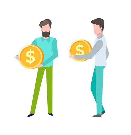 Person with finance assets, gold coin in hands of client of bank, deposit and savings, money capital, salary and business success giving profit. Vector illustration in flat cartoon style