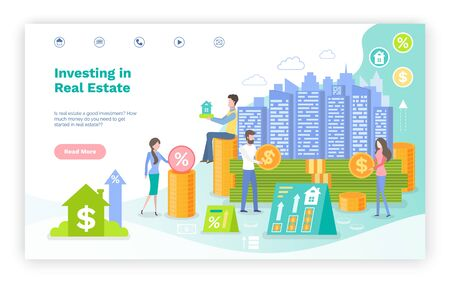 People with money investing in real estate vector, woman and man with coins and infocharts, banking and profit out of construction of houses. Website or webpage template, landing page flat style