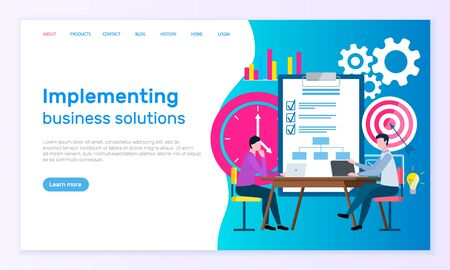 Implementing business solutions, workers discussing goals. Employees sitting at desktop and using laptop, marketing partnership, teamwork vector. Website or webpage template, landing page flat style