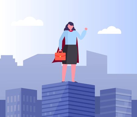 Lady wearing formal clothes holding briefcase vector, business hero, superwoman in city flat style.Skyscrapers and high building with person working hard  イラスト・ベクター素材