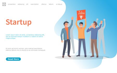 Business development and decision, startup vector. Man holding banner with big lightbulb banner sign of idea, innovation in company project. Website or webpage template, landing page flat style