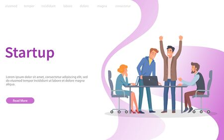 Startup new solution for business of company vector. Man with creative idea, people at conference, brainstorming workers sit by table in office. Website or webpage template, landing page flat style