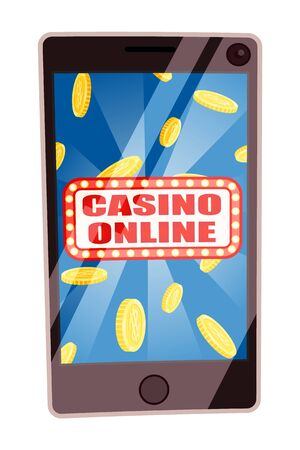 Gambling online casino, isolated smartphone with banner and glowing frame. Mobile phone and falling coins dollars. Victory winner of lottery. Vector illustration in flat cartoon style Stock Illustratie