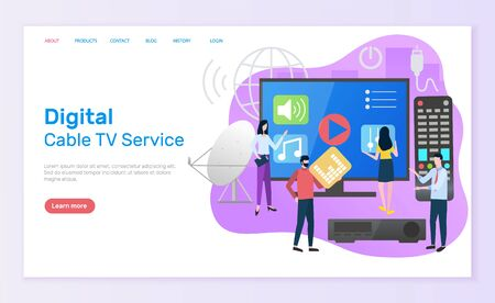Digital cable TV service vector, television screen with play button and remote controller, people with using innovations, man and woman satellite. Website or webpage template, landing page flat style