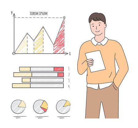 Young man looking into a paper, document with infograph and pie diagrams, employee working in a finance company or office, statistical graphics. Vector illustration in flat cartoon style Stock fotó - 132798064