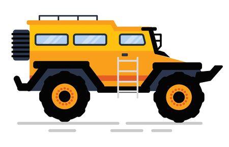 Geländewagen in gelber Farbe, Seitenansicht des Geländewagens mit Treppe und Trick, Baumaschinen. Auto mit großen Rädern, Rallye-Auto, Transport. Vektorillustration im flachen Cartoon-Stil