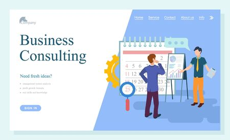 Business consulting webpage, researching strategy. Businessman cooperation, consultant and solution service, people communication technology vector. Website template, landing page online flat style Illusztráció