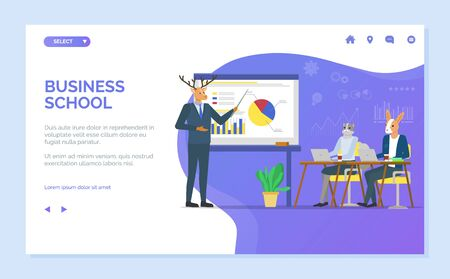 Business school vector, deer giving presentation to kangaroo, hipster animals at work, whiteboard with charts and information for tutoring. Website or webpage template, landing page flat style