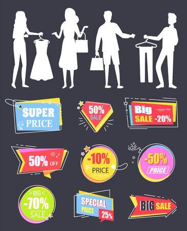 Persone che acquistano al vettore del negozio, silhouette di uomo e donna con borse. La scelta migliore in vendita eccellente, prodotti di qualità premium. Sconti e offerte banner. Adesivi per saldi aziendali per il Black Friday
