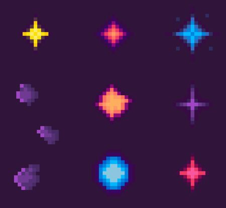 Pixel game elements vector, isolated galaxy with asteroids and stars celestial bodies on sky, outer space pixelated icons, explosion burst dust flats style. Pixelated space objects for video-game