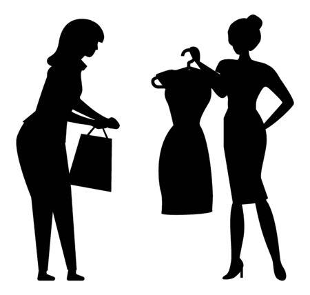 Donne che tengono i vestiti sui ganci silhouette isolato su bianco. Assistente alle vendite e cliente femminile in boutique alla moda, acquistando illustrazione vettoriale Vettoriali