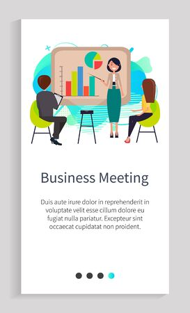 Business meeting of organization employees vector, businesswoman making report in front of audience using infographics and communicate with people. Website or app slider, landing page flat style