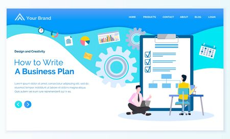 Process of writing business plan that works vector, businessman programer looking at screen of laptop. Wheels and cogwheels, clipboard with marks. Website or webpage template, landing page flat style