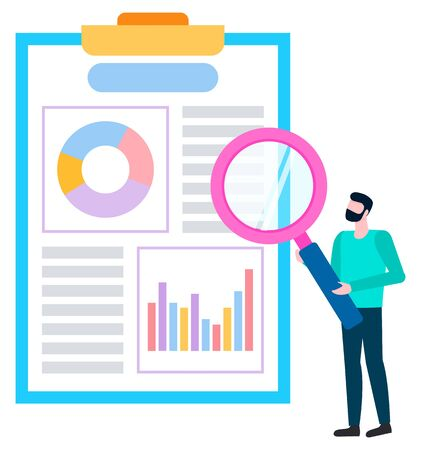 Broker agent analyzing sales of goods. Person near board with charts and graphs, statistical data. Worker with magnifier investigating information. Vector illustration in flat cartoon style Ilustração