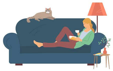 Woman character reading literature, side view of female character holding cup and book. Person lying with cat on sofa, bedside table and lamp, room. Vector illustration in flat cartoon style