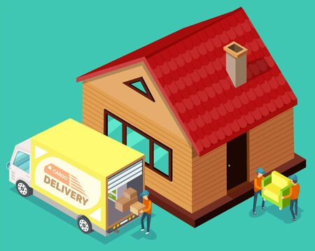 Delivers holding box, isometric 3d people carrying armchair in home, exterior of house. Cargo delivery by truck, dwelling and transportation vehicle, moving vector Vektoros illusztráció