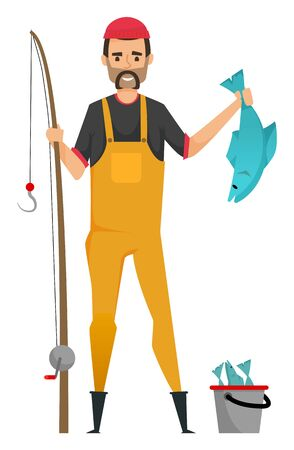 Man holding fishing rod and fish, portrait and full length view of smiling male character wearing hat and suit, fish in bucket, fishery hobby. Vector illustration in flat cartoon style