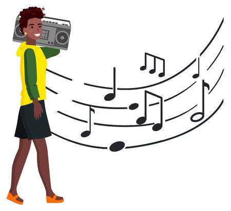 Woman with tape recorder walks along music notes, lifestyle shoots. Afro-american woman and apparatus for recording sounds on magnetic tape. Vector illustration in flat cartoon style  イラスト・ベクター素材