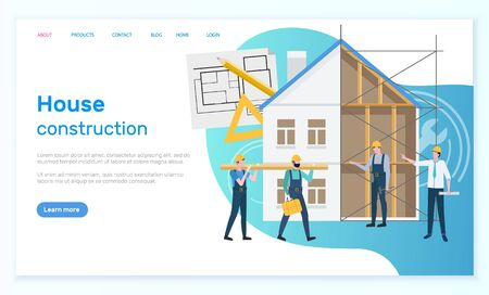 house construction vector, builders and management, designers with planning and schemes, home estate with walls and blocks, page with text sample. Website or webpage template, landing page flat style Ilustracja