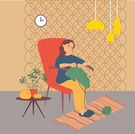 Character sitting at home knitting, lady in armchair mastering new clothes from threads. Interior with clock and lamps, pastime leisure of person. Vector illustration in flat cartoon style