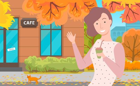 Signboard cafe on building. Girl stand outdoor on street with drink. Yellow leaves falling down at autumn. Golden foliage on floor. Vector illustration in flat cartoon style. Cafe in autumnal park Иллюстрация