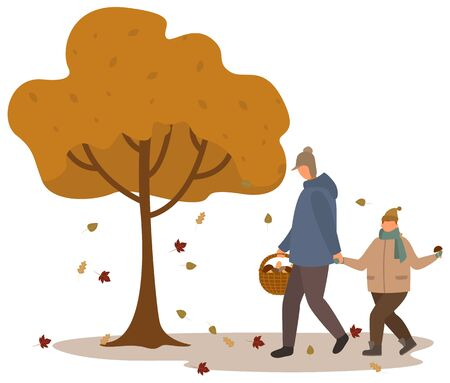 Father and son gathering mushrooms in autumn forest vector. Family members walking together holding hands. People in fall wood picking boletus, fungus in basket. Mushrooming season illustration