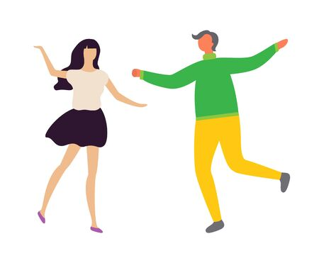 Happy dancing couple at disco club, man and woman in dance isolated characters. Vector crazy dancers at party, moving and posing lovers. Vector illustration in flat cartoon style Standard-Bild - 132798175
