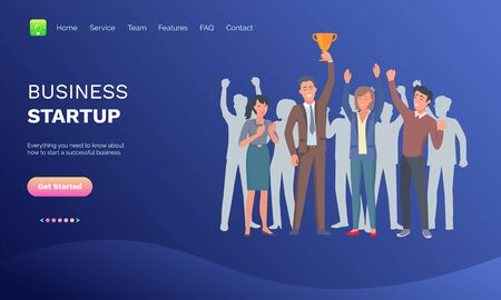 Man holding golden award, people with rising hands, business startup. Teamwork progress and success, portrait view of workers, company vector. Blue website or webpage template, landing page flat style Ilustração