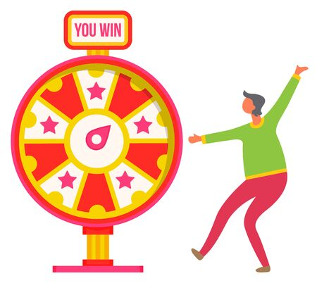 Happy person dancing with happiness, man won in fortune wheel. Casino playing games isolated person and machine for winning rewards. Vector illustration in flat cartoon style