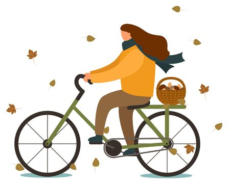 Woman riding bicycle in autumn vector. Lady going home after gathering mushrooms, boletus in wooden basket. Person in warm clothes cycling bike, cold weather. Fall mushrooming season illustration Illustration