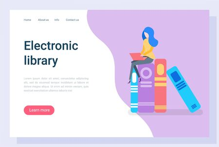 Electronic library vector, education in university, learning new information from books. Printed material, female character student bookworm. Website or webpage template, landing page flat style