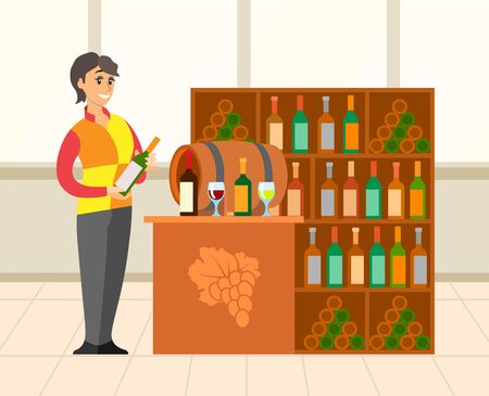 Interior of a wine cellar with huge collection of beverage. Shop assistant wearing uniform and holding bottle. Alcohol store and bar, wooden barrel. Vector illustration in flat cartoon style Vettoriali
