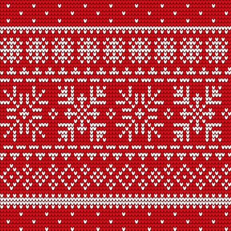 Embroidery of snowflakes and lines vector. Decoration seamless patterns, red and white stitches. Embroidered square, abstract style. Print for clothes or sweaters, material with ornaments illustration 矢量图像
