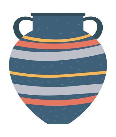 Recipiente de vajilla de rayas con asas, jarrón o vasija aislada. Artesanía de loza, taza retro. Jarra de cerámica tradicional antigua, cerámica vintage. Ilustración de vector de estilo de dibujos animados plana