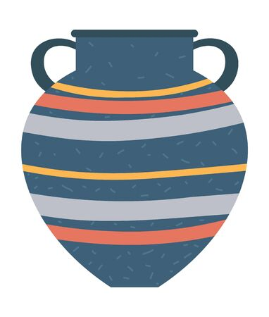 Striped crockery container with handles, isolated vase or vessel. Earthenware craft, retro cup. Ancient traditional ceramic jug, vintage pottery. Vector illustration in flat cartoon style Ilustracja