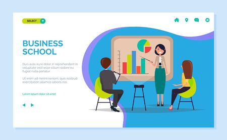 Business school vector, woman standing by whiteboard explaining details of subject, personal coach for students. Listeners and smart mentor. Website or webpage template, landing page flat style