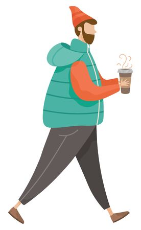 Man walking alone and drinking coffee vector. Hipster with cappuccino, latte or espresso in hands illustration. Guy holding cup with hot drink. Person in warm clothes like hat and jacket, flat style