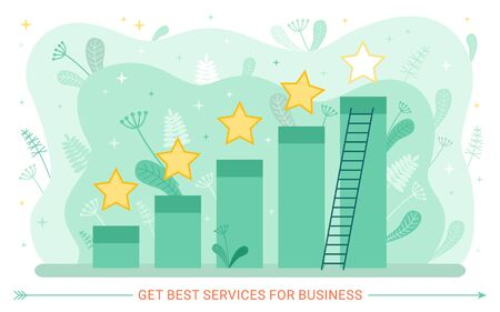 Growth graphic and service rate, stars and ladder. Business and work, chart or graph, evaluation and estimation abstract concept, giving grade. Vector illustration in flat cartoon style Stock fotó - 132872083