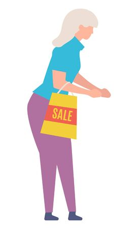 Woman shopping, isolated female character with grey hair holding bag with sale sign. Promotions and offers at shop, stores with prepositions. Vector illustration in flat cartoon style Vektorové ilustrace
