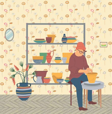 Man making pots, hipster male character sitting by wheel table with clay. Training practicing hipster, shelf with bowls and plates, cups and mugs, plant. Vector illustration in flat cartoon style