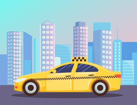 Cityscape with yellow cab. Taxi car with office building, skyscraper house on background. Public transport service. Vehicle on the street. Vector illustration in flat cartoon style