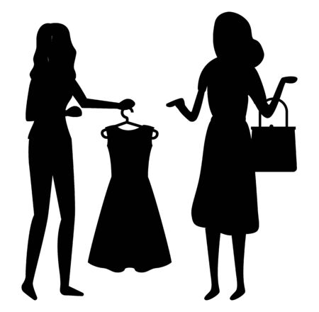 Shopping friends vector, isolated characters black silhouette of female. Consultant with dress on hanger, fashion and style advice, shop store flat style. Black friday sale