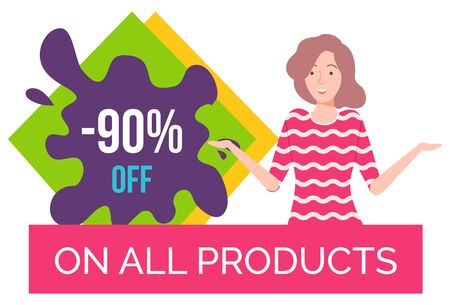 Hot sale on products of premium quality. Good deal for people. Happy brunette girl offering. Best price with discount on sale store. Woman on black friday sale. White background vector illustration