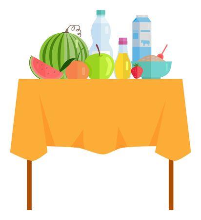 Watermelon and apple, strawberry fruit, porridge in bowl, pack of milk, bottles with beverage. Harvesting food, garage sale, rustic fresh meal. Vector illustration in flat cartoon style