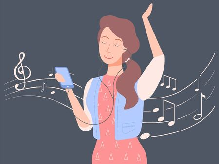 Woman with phone vector, isolated female character listening to music on smartphone. Sheet with notes, singing lady wearing headphones and dancing flat style. Happy music girl. New musical track