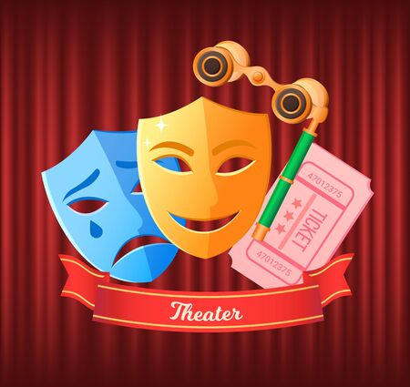 Comedy and drama masks vector, disguises and binoculars flat style. Tickets to watch play in theater, ribbon with inscriptions glasses for show details. Red curtain theater background Stock Illustratie