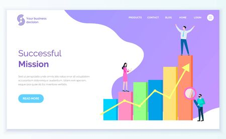 Successful mission, people with business plan. Stats and analytics analysis of information. Businessman achieve results in field, male with glass. Vector illustration in flat cartoon style