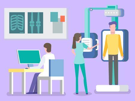 Skanowanie fluorograficzne i rentgenowskie pacjenta, izolowanego lekarza i pielęgniarki. Mężczyzna pracujący na laptopie, diagnostyka żeber i kości, asystent. Ilustracja wektorowa w stylu płaskiej kreskówki